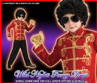 BOYS MICHAEL JACKSON RED MILITARY JACKET SM 3-4